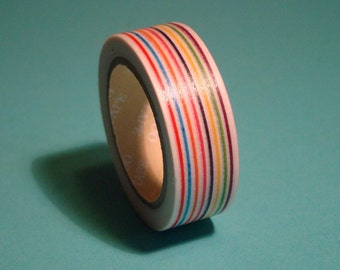 Washi Tape Roll - Cute Kawaii Rainbow Stripes Stationery Scrapbooking Sticker 15mm x 10m