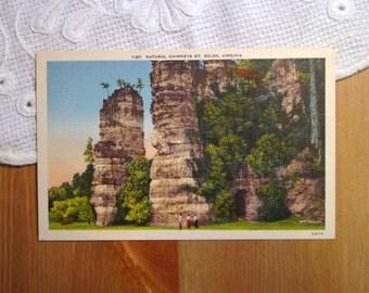 Vintage Linen Postcard, Natural Chimneys, Mt. Solon, Virginia - 1940s Paper Ephemera