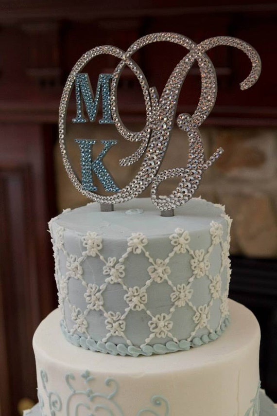 swarovski crystal monogram wedding cake topper monogram wedding cake topper initial by 20674
