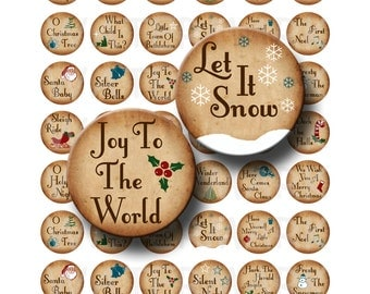 Christmas Songs - Digital Collage Sheet  - 1 inch Round Circles - INSTANT DOWNLOAD