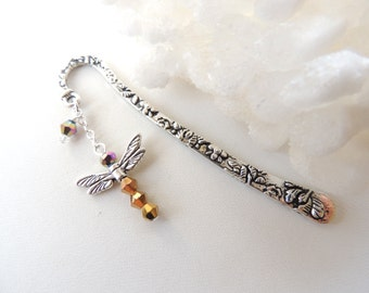 Dragonfly Bookmark, Metal Bookmark, Beaded Bookmark, Books and Zines, Iridized Dragonfly Charm Bookmark, Stocking Stuffer. B67