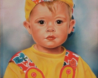 Custom Pastel Portrait Painting of a Child from your photography