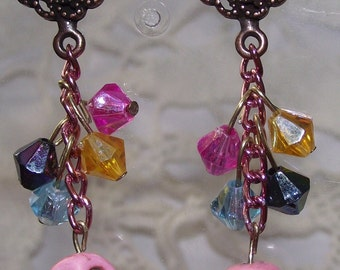 Pink Skull Dangle Earrings