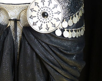 Tribal Fusion Belly Dance Belt Adornment. Diamonds and Arrows with Onyx Cabochon. One Disc,