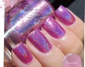 Nail Polish, Holographic Nail Lacquer, Pink Holo Nails, Indie Nail Polish, Vegan Varnish, Custom Color, Gift for Her, Pretty Jelly, FLOWERET