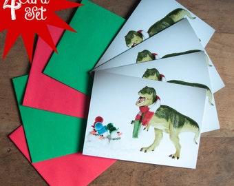 4 pack T-Rex and Snowmen Caroling - Christmas Card