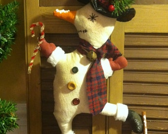 Primitive Country Christmas Ice Skating Snowman Door, Wreath or Wall Hanger