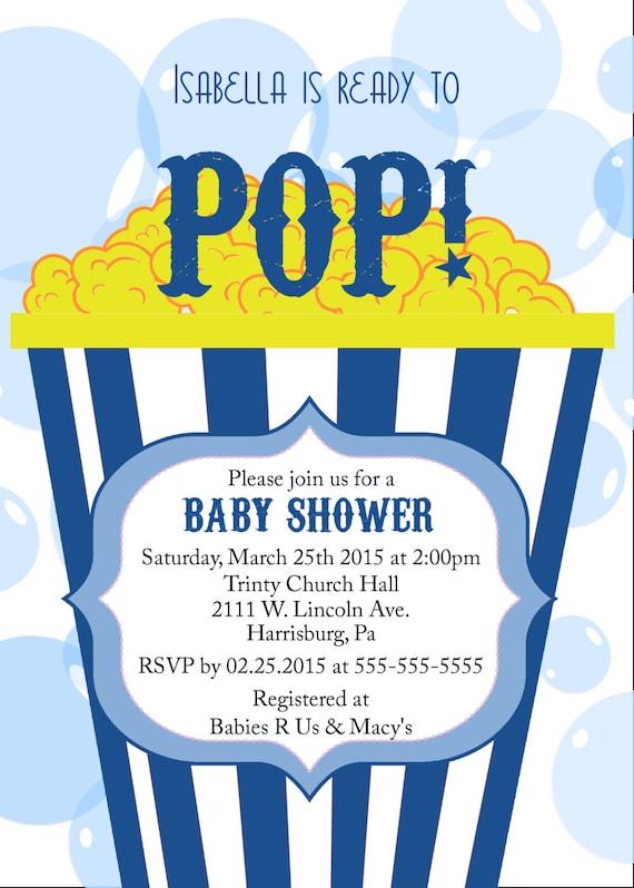 ready to pop baby shower invitation popcorn party invitation baby