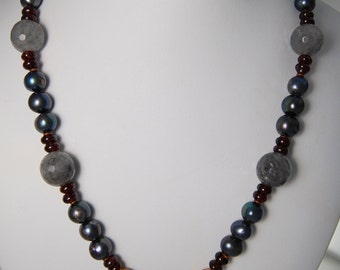 Grey Freshwater Pearls, Faceted Cloudy Crystal, Garnet, African Brass, Jasper
