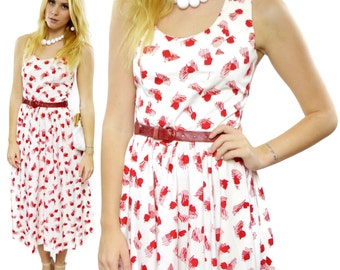 Vintage  80s Neiman Marcus 80s-does-50s Halter Sunday House Long Skirt Maxi Dress