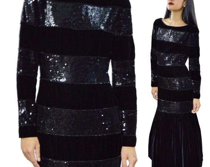Vintage 80s Oscar de la Renta Sequined Velvet Evening Ball Gown Dress