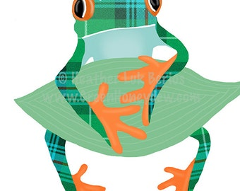 Tree Frog - Limited Edition Fine Art Print - Digital Painting - Whimsical, Cute, Tropical, Green, Orange, Teal, Rainforest