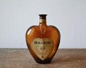 Vintage Heart Shaped Amber Bottle, Paul Masson Port Bottle