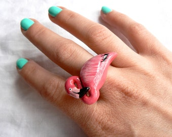 Pink Flamingo ring - Summer jewelry - exotic fashion