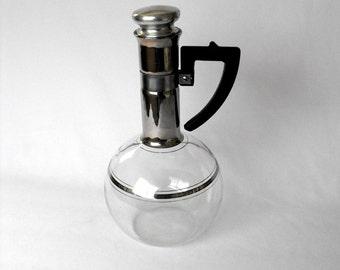 Vintage Carafe, Inland Coffee Hand Blown, Mid-Century Kitchen Bubble Bowl, Carafe, Art Deco Glassware,  Bedside Water Carafe