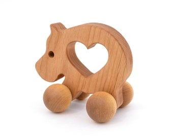 Wooden Push Toy - Waldorf Wood Animal Toy -  Natural Hippo Push Toy for Babies and Toddlers - Montessori Inspired Eco-Friendly Play