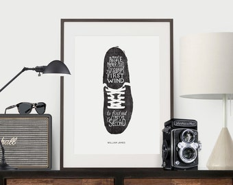 Poster Quote, Art Print, Quote, Illustration, Hand Lettered Print  - William James