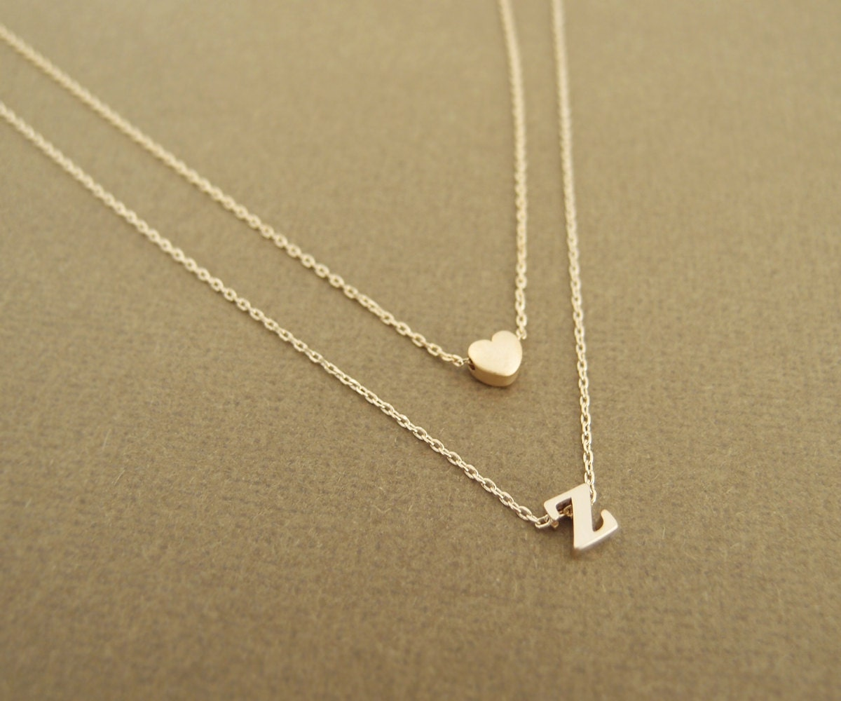 Choker Necklace Etsy: Heart And Initial Layered Necklace By LittleThingsByTCY On