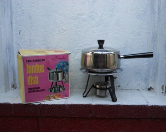 Stainless Steel Fondue Dish.  Made in JAPAN. IOB. 2 Qt.  In Original Box. NOS. Party Time
