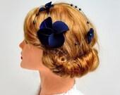 Navy blue fascinator Classy headband Elegant hair piece Bridesmaid hair Bridal headpiece Wedding hair accessories Fascinator headband