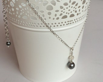 Swarovski Dark Grey Crystal Pearl Stainless Steel Necklace, Classy Classic Chic Simple Bridesmaids Necklace N81