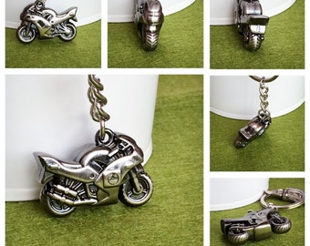 3D Silver Plated Metal Motorcycle Key Chain Bag Charm KC64