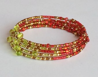 Multi Color Seed Beads Bracelet, 5 Strands Memory Wire Bracelet B31