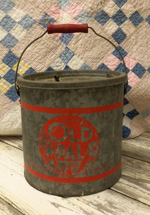 Vintage Mid Century Old Pal Minnow Bucket Galvinized Steel Nice Bucket ...