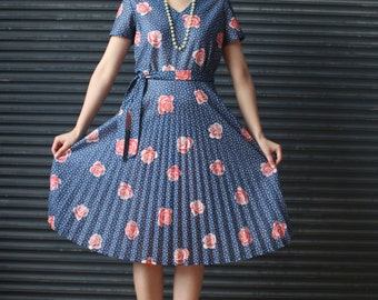 Vintage polkadot and floral rose print dress in blue, retro 40s style by way of the 1970s