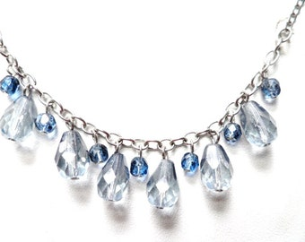 Dainty Vintage Faceted Blue Crystal Charms Bib Necklace