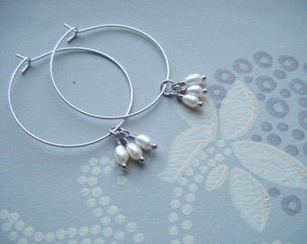 Silver hoop earrings , Silver hoop and pearl earrings , fresh water pearl hoops , pearl hoop earrings , silver hoops