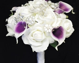 Purple Heart Callas Brooch Wedding Bouquet - Natural Touch Roses and and Callas Brooch Jewel Bouquet - Rhinestones