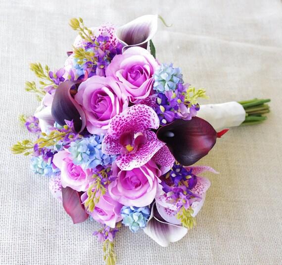 Matrimonio Viola E Azzurro : Viola mix di fucsia e azzurro lilla naturale touch orchidee
