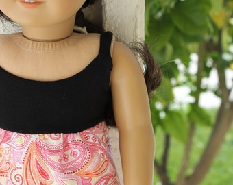 American Girl Doll Maxi dress, pink paisley with black knit top