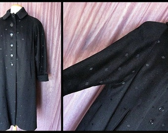 Vintage 40s 1940s Diamond Weave Coat / /Swing Silhouette fits S to L //  Starobin Exclusive // Wool and Fur Fiber