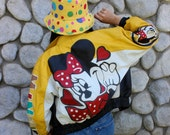 AMAZZZZING VTG Yellow Leather Minnie Mouse Jacket *Collectors Item*
