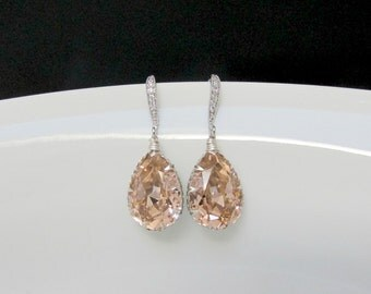 swarovski blush earrings , sw  bridal blush earrings , pink blush bridesmaids earrings , crystal champagne earrings , wedding jewelry