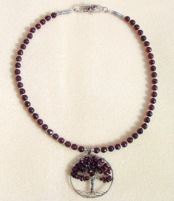 garnet gemstone necklace tree of necklace garnet tree