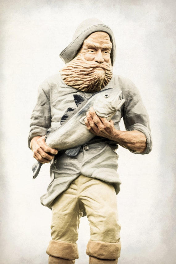 Statue of a Fisherman with Salmon. Eastport, Maine. Travel Photography. Print by OneFrameStories.