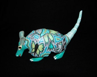 Exquisitely Detailed Armadillo With Plants, Bird & Butterflies On It Back Signed by Armando Carrillo