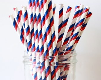 Red, White & Blue Party Straws, Patriotic Paper Stripe Straws 25, Wedding Bar Straw, 4th of July, BBQ Party, Military Party, Paper Straws