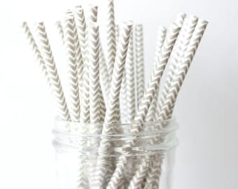 Grey Chevron Straws, Grey Paper Straws 25, Grey Wedding Decor, Grey Straw, Rustic Wedding, Party Straws, Wedding Bar Straws