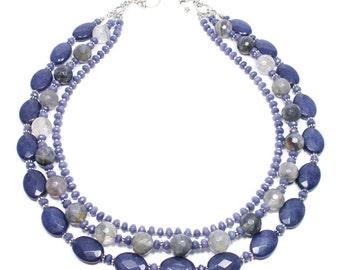 Multi Strand Gemstone Necklace - Purple Gray Beaded Necklace - Gemstone Jewelry - Triple Strand Necklace - Beadwork Jewelry - Semi Precious