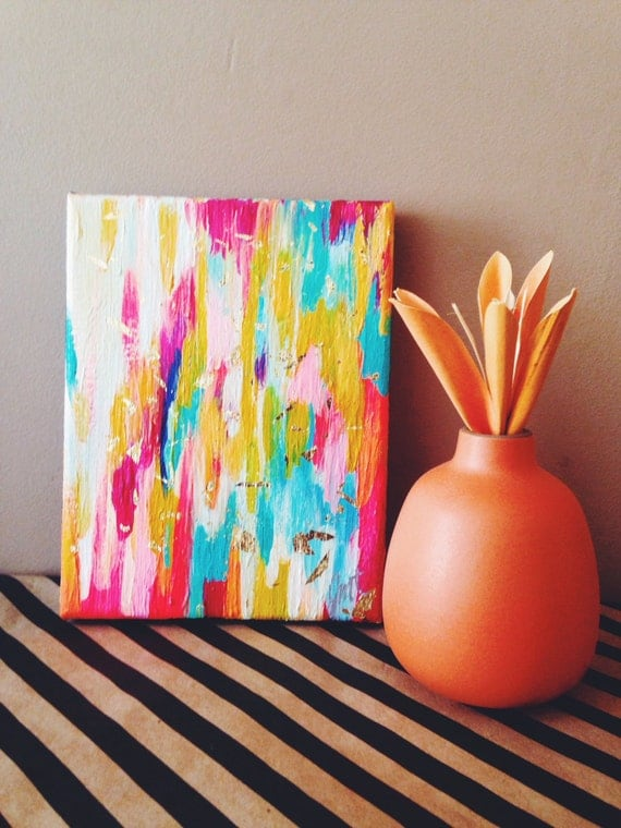 Original abstract art painting on canvas with gold foil 5.5x7 inch
