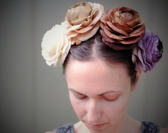 Floral Fabric Silk Hair Clip Hat Renaissance Pin Up Natural Realistic Wedding Bridesmaid Bride Accessories White Ivory Beige Purple Brown