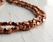 Copper-plated brass faceted beads - cornerless cubes (40) 3/3.5 x 3mm, copper tone beads, copper beads, spacer beads, faceted beads