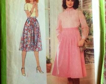Vintage 1970s Pleated Prairie Skirt Pattern // Simplicity 8478, size 12, Lg