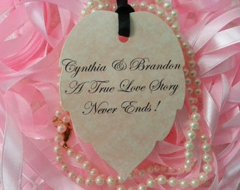 100 WISH TREE TAGS  Custom Bride and Groom Name A Love Story Never Ends Adorned with Black Satin Ribbon
