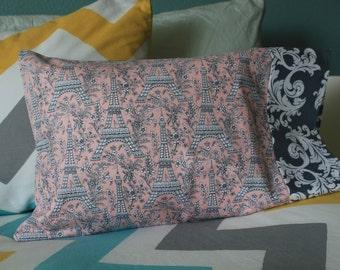 Travel Pillowcase - Cute Cotton Eiffel Tower Pattern