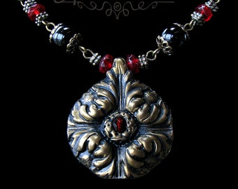 Unique Romantic Poppy Antique Style Jewelry Handmade Art Necklace Set in Gold Red and Black